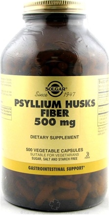 DROPPED: Solgar - Psyllium Husks Fiber 500 mg. - 500 Vegetarian Capsules CLEARANCE PRICED