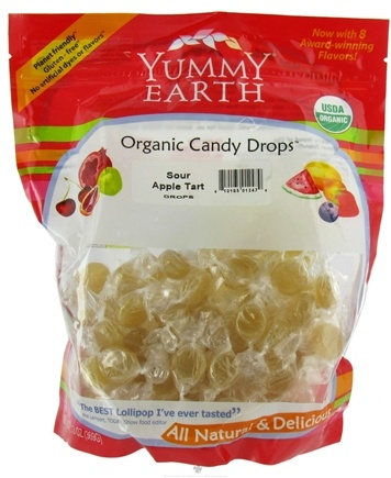 DROPPED: Yummy Earth - Organic Candy Drops Gluten Free Sour Apple Tart - 13 oz. CLEARANCE PRICED