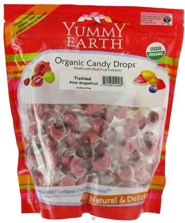 DROPPED: Yummy Earth - Organic Candy Drops Gluten Free Tickled Pink Grapefruit - 13 oz. CLEARANCE PRICED