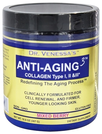 Dr. Venessa's Formulas - Anti-Aging 3 Collagen Powder Mixed Berry - 300 Grams