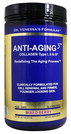 Dr. Venessa's Formulas - Anti-Aging 3 Collagen Powder Mixed Berry - 615 Grams