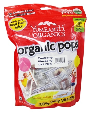 Yum Earth - Organic Lollipops Gluten Free TooBerry Blueberry - 12.3 oz.
