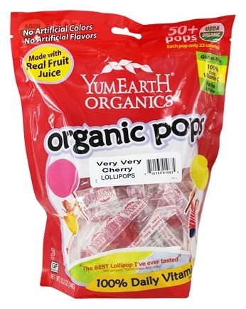 Yum Earth - Organic Lollipops Gluten Free Very Very Cherry - 12.3 oz.