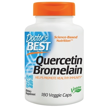 Doctor's Best - Quercetin Bromelain Vegan Circulatory Support - 180 Vegetarian Capsules