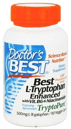 DROPPED: Doctor's Best - Best L-Tryptophan Enhanced with B6 & Niacinamide 500 mg. - 90 Vegetarian Capsules (Formerly Best L-Tryptophan TryptoPure)
