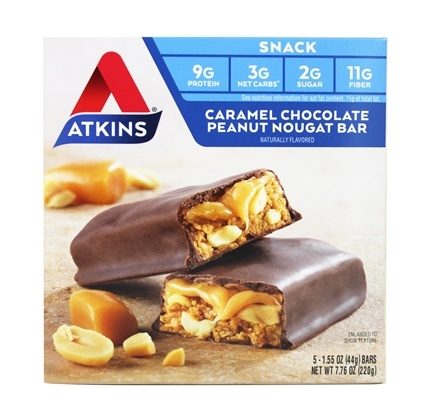 Atkins Nutritionals Inc. - Advantage Snack Bar Caramel Chocolate Peanut Nougat - 5 Bars