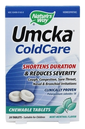 Nature's Way - Umcka Cold Care Mint-Menthol - 20 Chewable Tablets