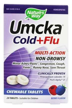 Nature's Way - Umcka Cold + Flu Berry - 20 Chewable Tablets