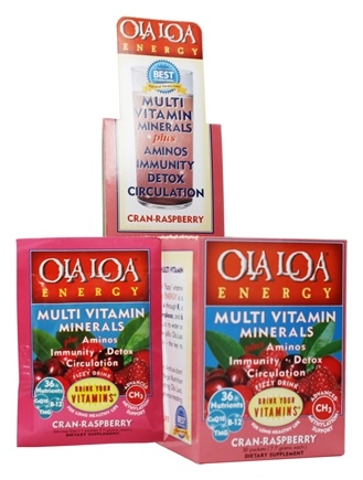 Ola Loa - Energy Multi Vitamin Effervescent Cran-Raspberry - 30 x 8g Packets