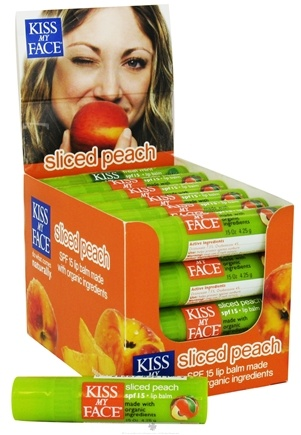 DROPPED: Kiss My Face - Organic Lip Balm Sliced Peach 15 SPF - 0.15 oz. L