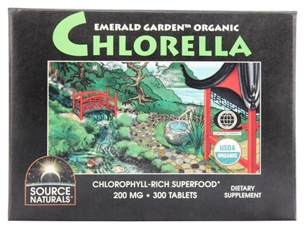 Source Naturals - Emerald Garden Organic Chlorella Chlorophyll-Rich Superfood Box 200 mg. - 300 Tablets