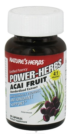 DROPPED: Nature's Herbs - Power-Herbs Acai Fruit Antioxidant Support - 30 Capsules CLEARANCE PRICED