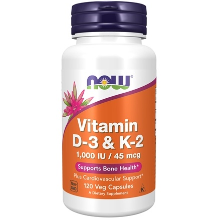 NOW Foods - Vitamin D-3 & K-2 - 120 Vegetarian Capsules