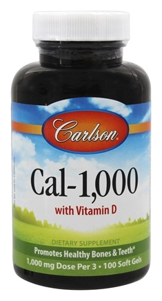 Carlson Labs - Cal-1,000 With Vitamin D 1000 mg. - 100 Softgels