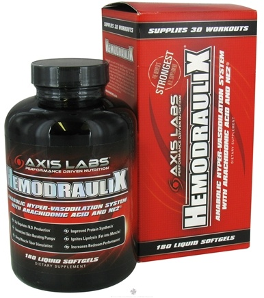DROPPED: Axis Labs - Hemodraulix Anabolic Hyper-Vasodilation N.O. Booster System - 180 Softgels CLEARANCE PRICED