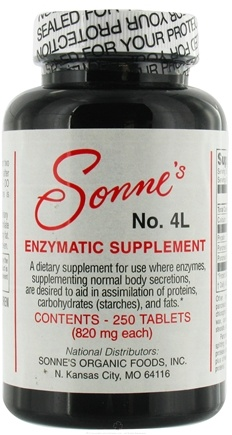 DROPPED: Sonne's - Enzymatic Supplement #4 - 250 Tablets