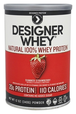 DROPPED: Designer Protein - Designer Whey 100% Premium Whey Protein Powder Luscious Strawberry - 12.7 oz. CLEARANCE PRICED
