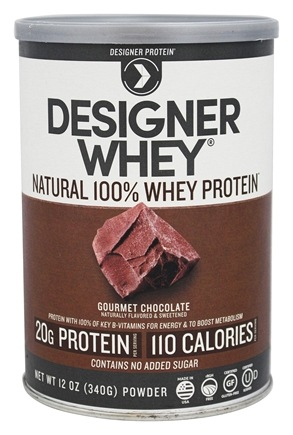 Designer Protein - Designer Whey Natural 100% Whey-Based Protein Powder Gourmet Chocolate - 12 oz.