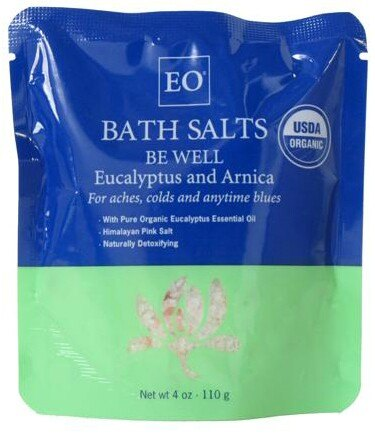 DROPPED: EO Products - Bath Salts Be Well Eucalyptus & Arnica - 4 oz. CLEARANCE PRICED