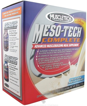 DROPPED: Muscletech Products - Meso-Tech Complete Delicious Vanilla Creme - 20 Packet(s) CLEARANCE PRICED