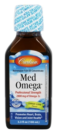Carlson Labs - MedOmega Norwegian Fish Oil Concentrate Lemon Lime Flavor - 3.3 oz.