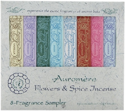 DROPPED: Auromere - Flowers & Spice Incense 8 Fragrance Sampler - 8 Packet(s) CLEARANCE PRICED