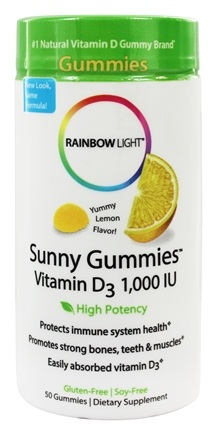 Rainbow Light - Vitamin D 1,000 IU Sunny Gummies Sour Lemon - 50 Gummies