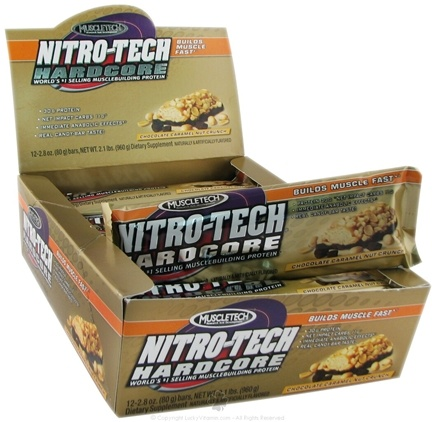 DROPPED: Muscletech Products - Nitro-Tech Hardcore Bar Chocolate Caramel Nut Crunch - 2.8 oz. CLEARANCE PRICED