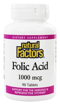 Natural Factors - Folic Acid 1000 mcg. - 90 Tablets