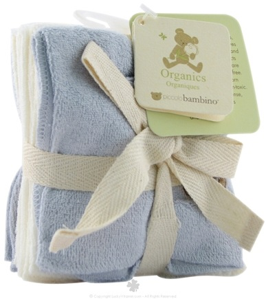 DROPPED: Piccolo Bambino - Organic Baby Washcloths Blue - 6 Pack(s)
