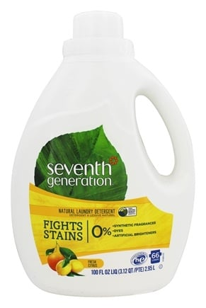 Seventh Generation - Natural 2x Concentrated Liquid Laundry Detergent Fresh Citrus Breeze - 100 oz. (formerly White Flower & Bergamot Citrus)