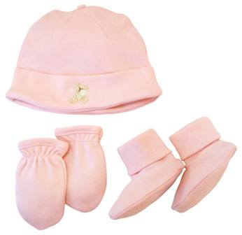 DROPPED: Piccolo Bambino - Organic Hat Set with Scratch Mittens and Booties Pink