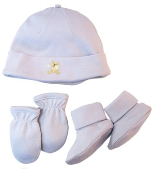 DROPPED: Piccolo Bambino - Organic Hat Set with Scratch Mittens and Booties Blue