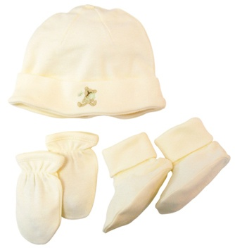 DROPPED: Piccolo Bambino - Organic Hat Set with Scratch Mittens and Booties Ivory - CLEARANCE PRICED