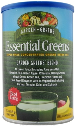DROPPED: Garden Greens - Essential Greens Super ORAC Concentrated Greens Drink Mix Garden Greens Blend Apple & Banana Flavor - 495 Grams