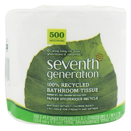 Seventh Generation - Bathroom Tissues 100% Recycled White 2 Ply 500 Sheets Unscented - 1 Roll(s)
