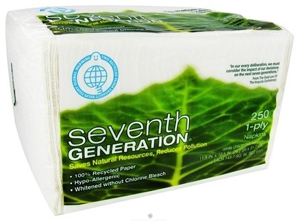 DROPPED: Seventh Generation - White Napkins 100% Recycled 1 Ply 250 pack - CLEARANCE PRICED