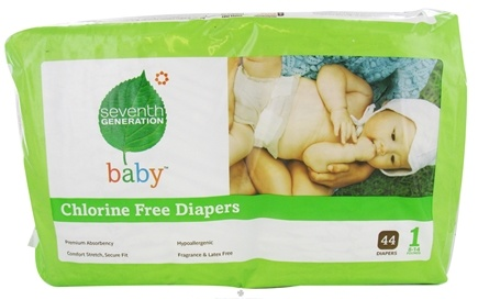 DROPPED: Seventh Generation - Chlorine Free  Stage 1 (8-14 lb.) 40 baby diapers - CLEARANCE PRICED