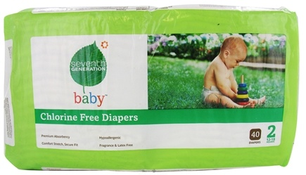 DROPPED: Seventh Generation - Chlorine Free Stage 2 40 Baby Diapers (12-18 lb.) - CLEARANCE PRICED
