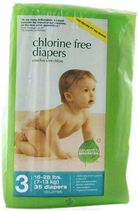 DROPPED: Seventh Generation - Chlorine Free Stage 3 35 Baby Diapers (16-28 lb.) - CLEARANCE PRICED