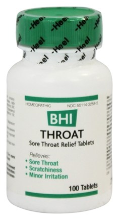 BHI/Heel - Throat Homeopathic Medication - 100 Tablets