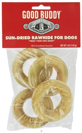 DROPPED: Castor & Pollux - Good Buddy Sun-Dried Rawhide Rings For Dogs 5 oz. - 4 Pack Formerly Wet Nose Rawhide