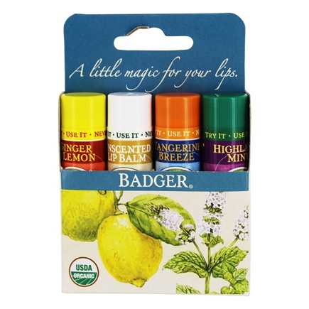Badger - Classic Lip Balm Sticks Variety Pack - 4 x 0.15 oz.