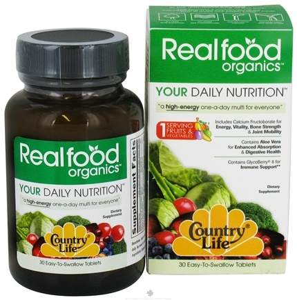 DROPPED: Country Life - Real Food Organics Your Daily Nutrition - 30 Tablets CLEARANCE PRICED