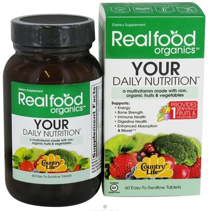 DROPPED: Country Life - Real Food Organics Your Daily Nutrition - 60 Tablets CLEARANCED PRICED