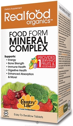 DROPPED: Country Life - Real Food Organics Food Form Mineral Complex - 60 Tablets