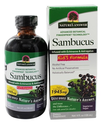 Nature's Answer - Sambucus Black Elder Berry Extract Kids Formula - 4 oz.