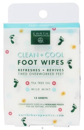 DROPPED: Earth Therapeutics - Clean & Cool Foot Wipes Foot Therapy - 15 Sheet(s) CLEARANCE PRICED