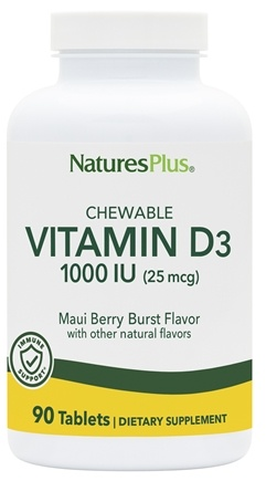Nature's Plus - Adult Chewable Vitamin D3 Maui Berry Burst 1000 IU - 90 Tablets