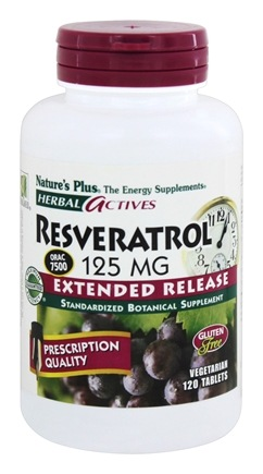 Nature's Plus - Herbal Actives Extended Release Resveratrol 125 mg. - 120 Vegetarian Tablets
